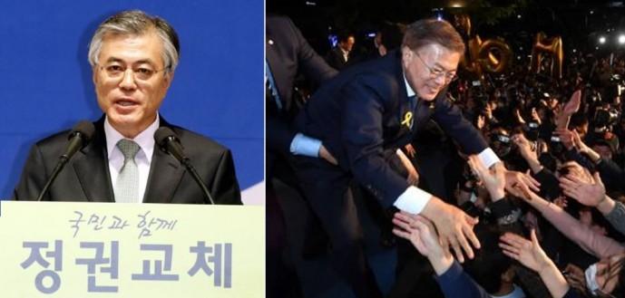 2012년 대통령 후보 수락연설 당시(왼쪽)와 9일 대선 승리 직후 문재인 대통령의 모습(오른쪽). - 동아일보DB 제공